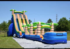 27 Foot Double Lane Tropical Water Slide with 35 Foot Slip and Slide