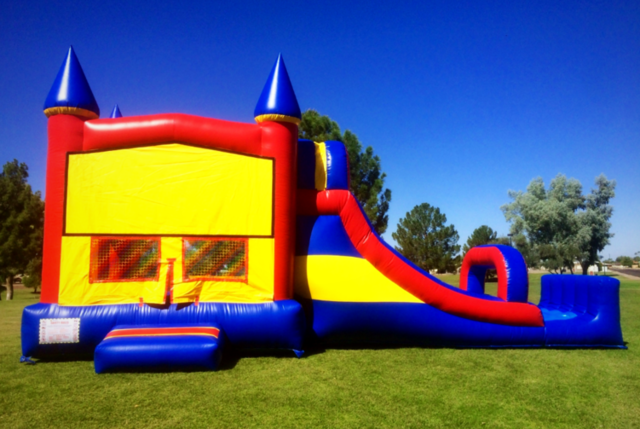 LARGE RED YELLOW BLUE CASTLE COMBO SLIDE