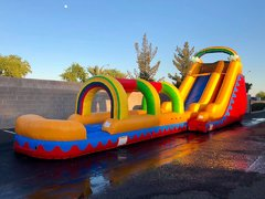 18 FT TALL RAINBOW WATER SLIDE + SLIP N SLIDE