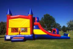LARGE RED YELLOW BLUE CASTLE COMBO WATER SLIDE