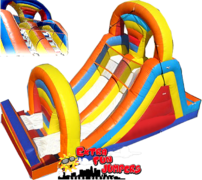 18ft Rainbow Dual Lane Slide Wet 502