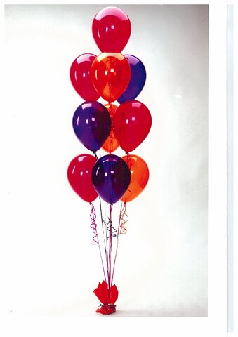 10 Balloon Bouquet assorted plain & prints with Twists  and an attractive weight