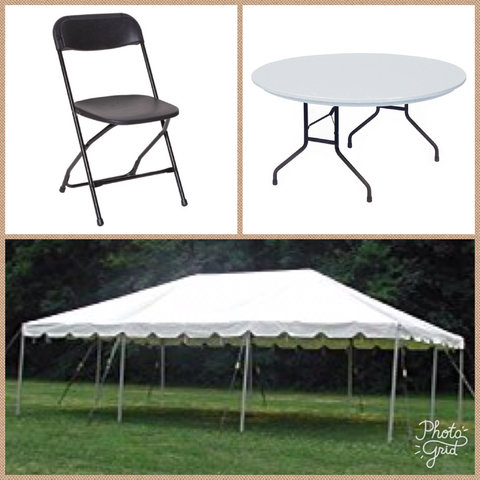 20x30 Frame Tent with 6 Round Tables & Chairs