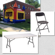 <font color=blue><b>Backyard Package 1</b></font color=blue><br><font color=red><small>Includes: Regular Bounce House (15x15)</small></br><small>6 ft Tables</br></small><small>24 Black Folding Chairs</small></br></font color=red>