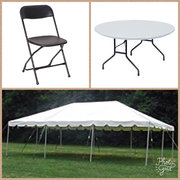 <font color=blue><b>20x20 Tent Package</b></font color=blue><br><font color=red><small>Includes: 20x20 Frame Tent </small></br><small>4-60 inch Round Tables</br></small><small>32 Black Folding Chairs</small></br></font color=red>
