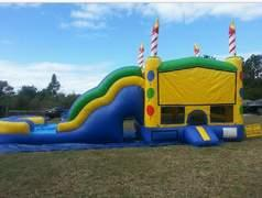 Birthday cake bounce house and slide