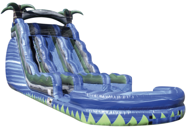 16 ft Blue Crush Double Lane Water Slide