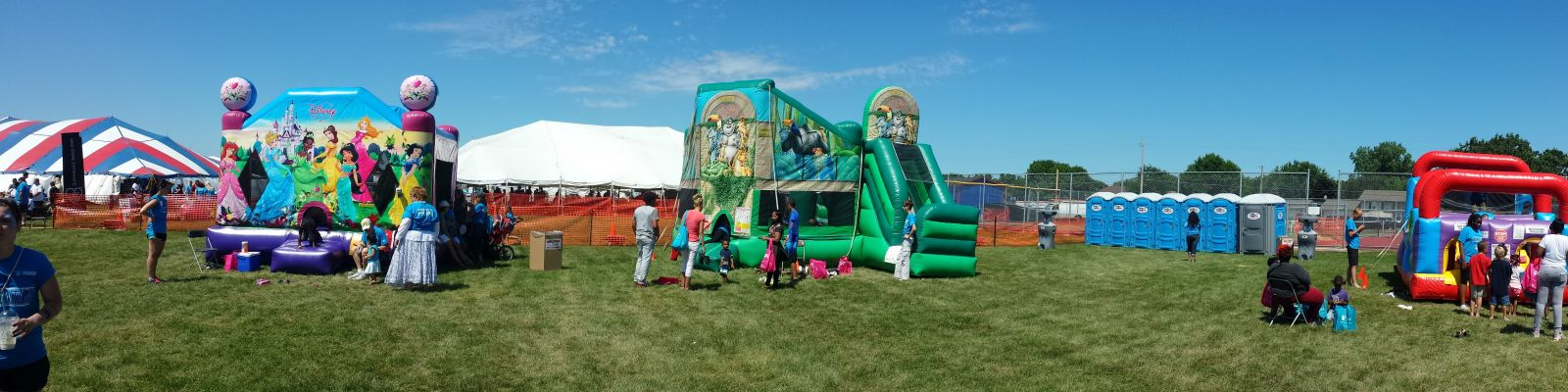 Zoo Combo with other Inflatables at large fundraiser