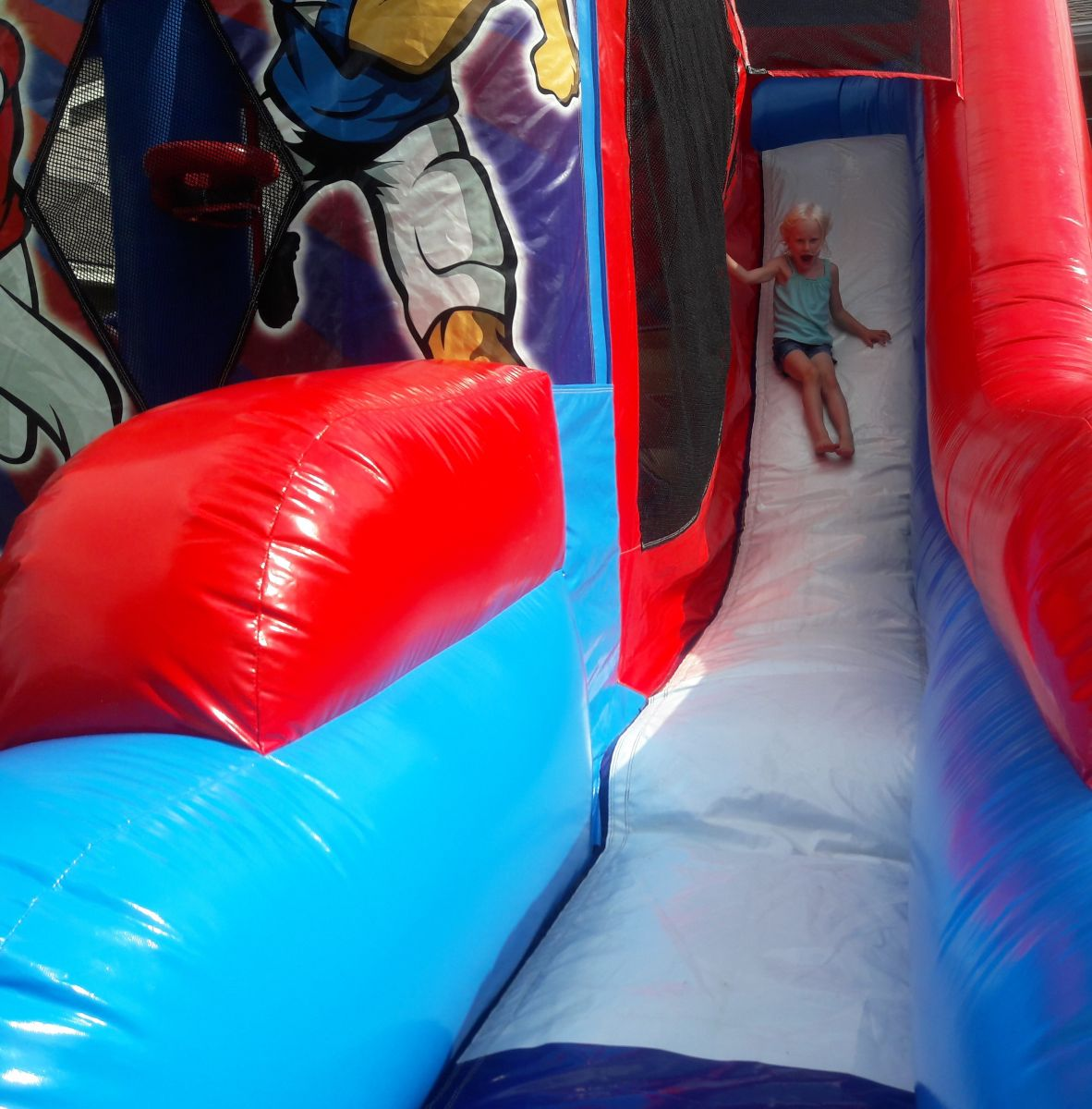 Slide from inflatable sports combo