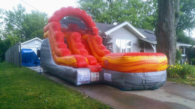 12' Red Fire Marble Water Slide