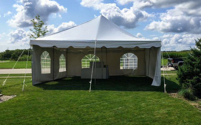 20x20 Pole Tent With 1-4 Sidewalls