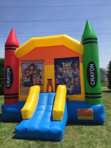 Toy Story Large Crayon Bounce House With Basketball Hoop