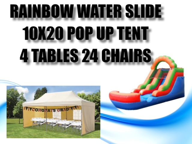 10x20 Popup Tent Package for 24 & Rainbow Water Slide