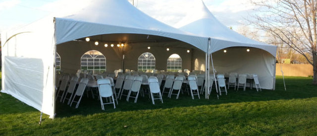 20x40 High Peak Frame Tent Package for 100 with Sidewalls