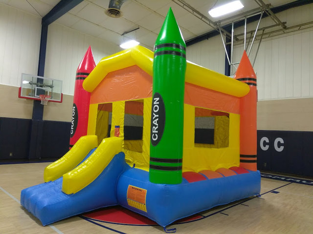 Crayon Large Bounce House With Mini-Slide