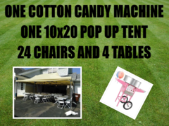 10x20 Popup Tent Package for 24 & Cotton Candy Machine