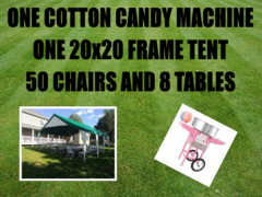 20x20 Economy Frame Tent Package for 50 & Cotton Candy Machine