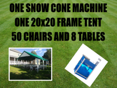 20x20 Economy Frame Tent Package for 50 & Snow Cone Machine