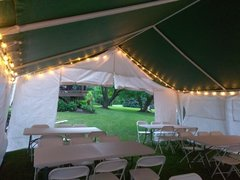20x20 Economy Frame Tent Package for 50 with Sidewalls