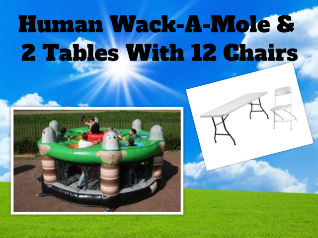 Human Wack-A-Mole w/ 2 tables & 12 chairs Package Deal