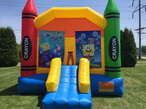 Spongebob Large Crayon Bounce House With Basketball Hoop