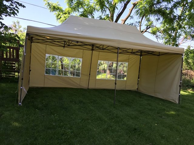 10x20 Tan Pop Up Tent With Sidewalls