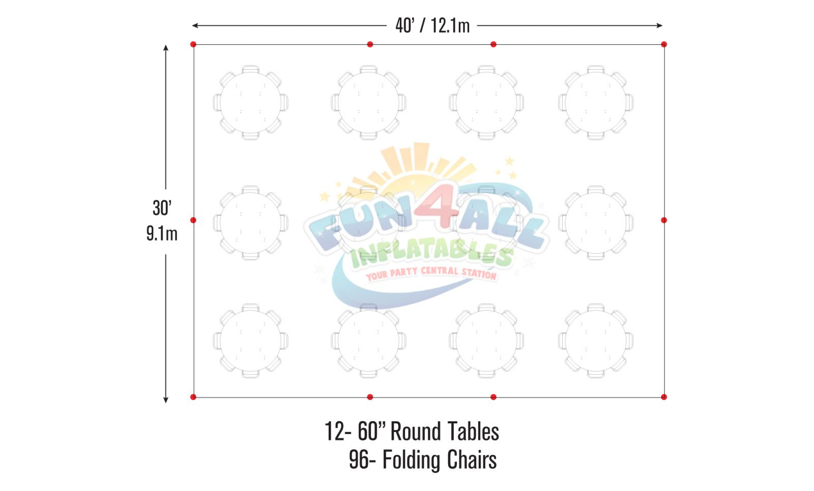 30x40 frame tent seating chart seating for 96