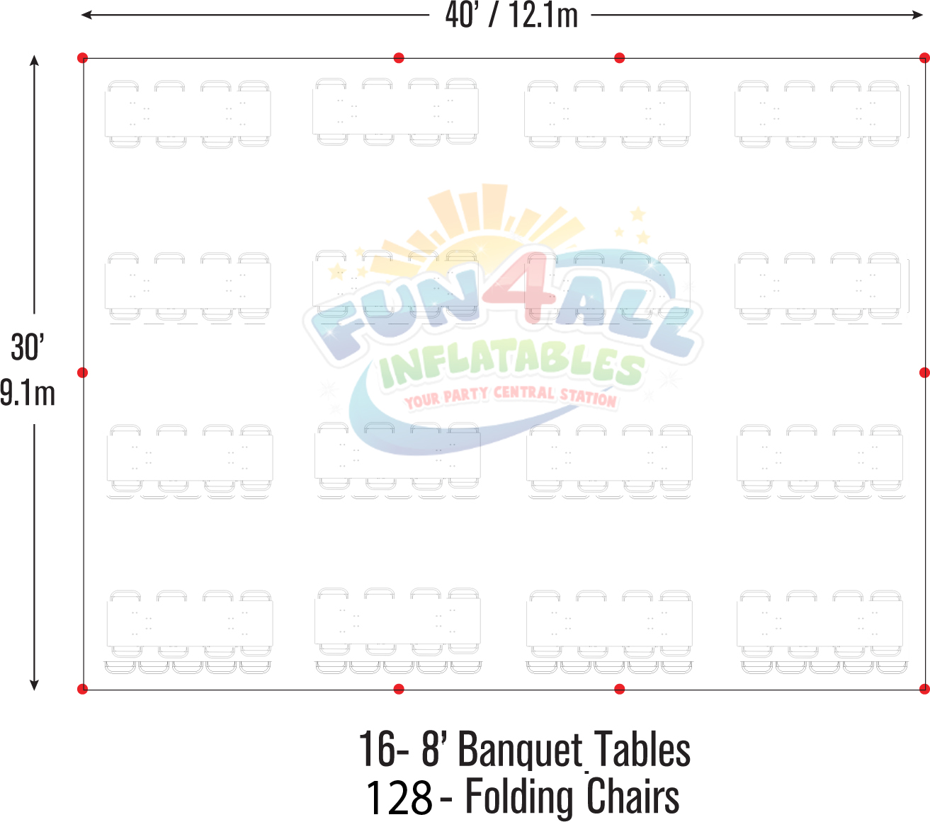 30x40 frame tent seating layout