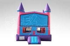 Pink Castle Bounce House with Basketball Hoop