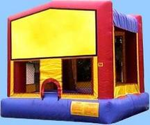 20x20 Frame Tent with 6 rectangular tables 48 Chairs and the Fun Bounce House Moon Bounce