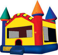 10x10 frame tent with 2 Rectangular tables 20 Chairs and the Castle Moon Bounce