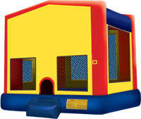 10x10 frame tent with 2 Rectangular tables 20 Chairs and the Fun Bounce House