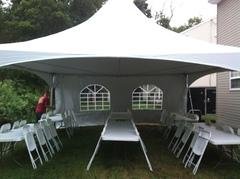 TOP SHELF ALL WHITE 20x20 Frame Tent Package for 48 People with (6) 8' Tables and 48 RESIN chairs+ LINENS