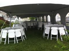 20x20 Frame Tent Package for 40 People with 4 Round Tablesand 40 chairs