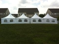 20x80 Frame Tent Package for 120 People With (15) 8' Tables and 120 chairs & DANCE FLOOR
