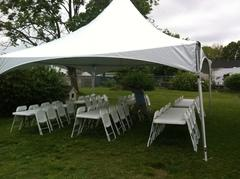 20x20 Frame Tent Package For 32 People With (4) 8' Tables and 32 chairs