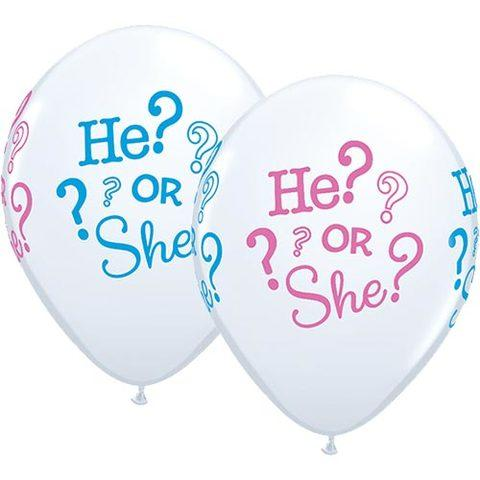 He or she printed latex Boy or girl mylar balloon