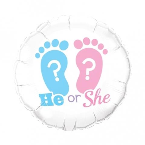 He or she mylar balloon