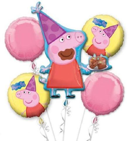 Peppa Pig  Mylar Balloon Bouquet