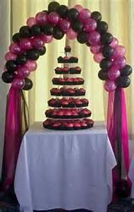 cake table single balloon arch w bottom draping