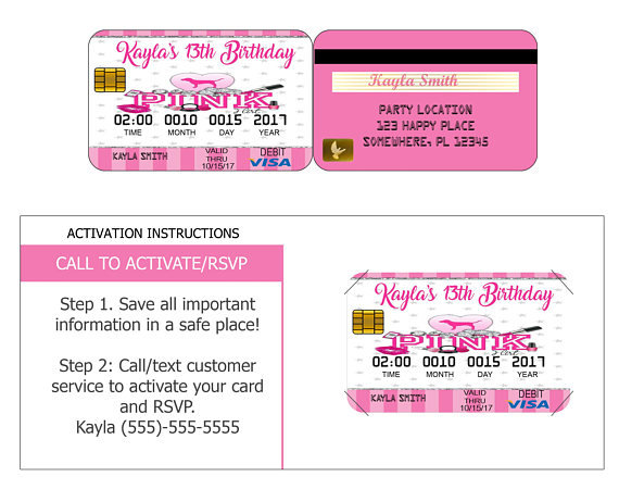 personalized  credit card invites