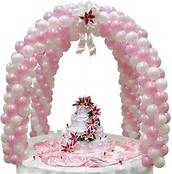 cake table double balloon arch