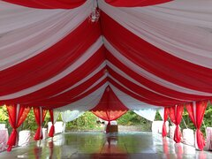 Red & White Tent Drapery Draping