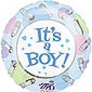 its a boy safety pin mylar