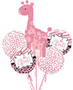 its a girl giraffe  mylar bouquet