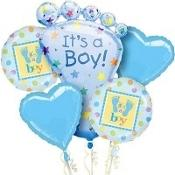its a boy footprnts mylar bouquet