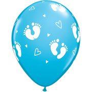 Baby boy footprints latex balloon