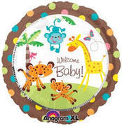 welcome baby safari  Mylar balloon
