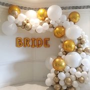 organic 3/4  balloon arch with chrome
