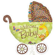 welcome baby safari  Mylar balloon stroller